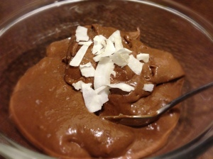 Moo-Less Chocolate Mousse topped with Sea Salt and Coconut Flakes!